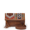 Small leather crossbody with a jacquard flap, Idina Jacquard Clutch.