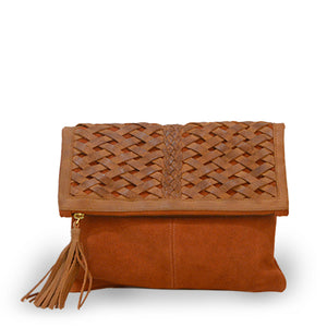 Suede and leather clutch in brick, Ivy Clutch.