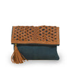 Suede and leather clutch in teal, Ivy Clutch.