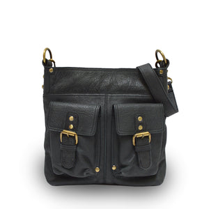 Front view of bag, handle down, black leather, Joan Leather Crossbody Bag.