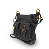 Bag at an angle, handle down, black leather, Joan Leather Crossbody Bag.