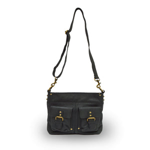 Front view of bag, handle up, black leather, Joan Leather Crossbody Bag.