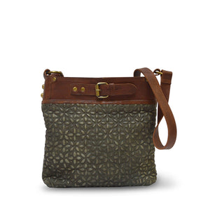 front view of fern green leather quilted bag with the handle down, Joan Quilted Crossbody Bag.