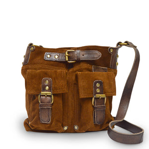 Front view of bag, handle down, tobacco, Joan Suede Crossbody Bag.
