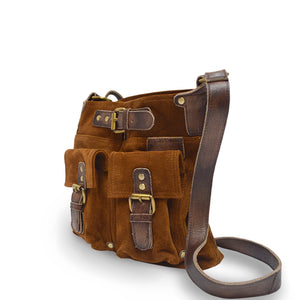 Angle view, handle down, tobacco, Joan Suede Crossbody Bag.