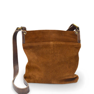 Back view, handle down, tobacco, Joan Suede Crossbody Bag.