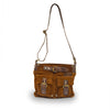 Front view of bag, handle up, tobacco, Joan Suede Crossbody Bag.