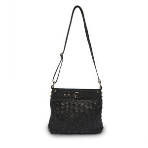 Front view of bag, handle up, black leather, Joan Woven Leather Crossbody Bag.