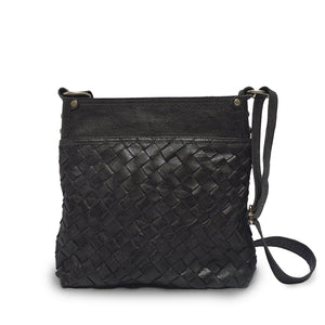 Back view of bag, handle down, black leather, Joan Woven Leather Crossbody Bag.