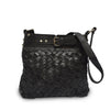 Front view of bag, handle down, black leather, Joan Woven Leather Crossbody Bag.