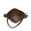 Interior image of bag, black leather, Joan Woven Leather Crossbody Bag.