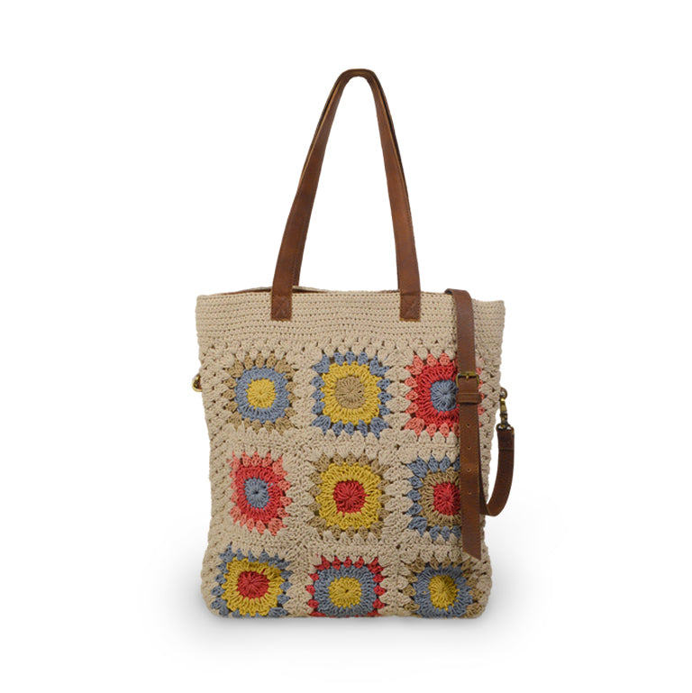 Crochet cotton bag with colorful squares, front view, Julia Crochet Crossbody Bag.