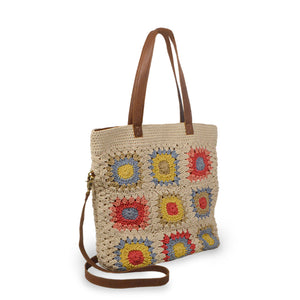 Crochet cotton bag with colorful squares, angle view, Julia Crochet Crossbody Bag.