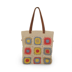 Crochet cotton bag with colorful squares, front view without crossbody strap, Julia Crochet Crossbody Bag.