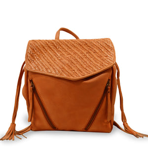 Coral leather backpack with woven flap, Julie Leather Backpack.