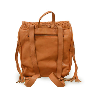 Back view of coral leather backpack with woven flap, Julie Leather Backpack.