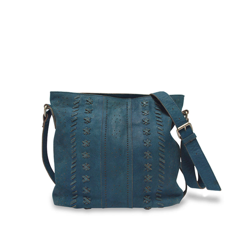 Front view of blue leather crossbody bag, June Crossbody Bag.