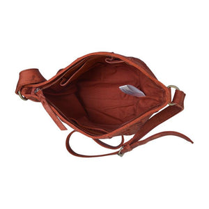 Interior view of rust bag, June Crossbody Bag.