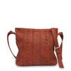 Front view of rust leather crossbody bag with handle down, June Crossbody Bag.