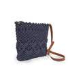 Lani crossbody bag in denim color, angled view.