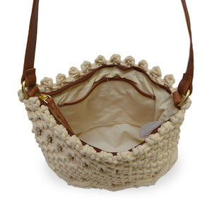 Lani crossbody bag in cream color, inside of bag view.