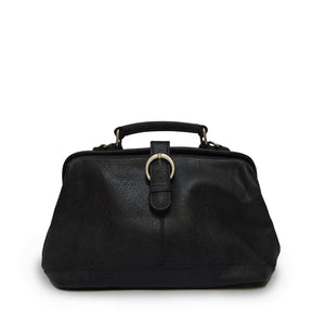 Black leather doctor bag front view with removable crossbody strap off, Madeline Doctor Bag.