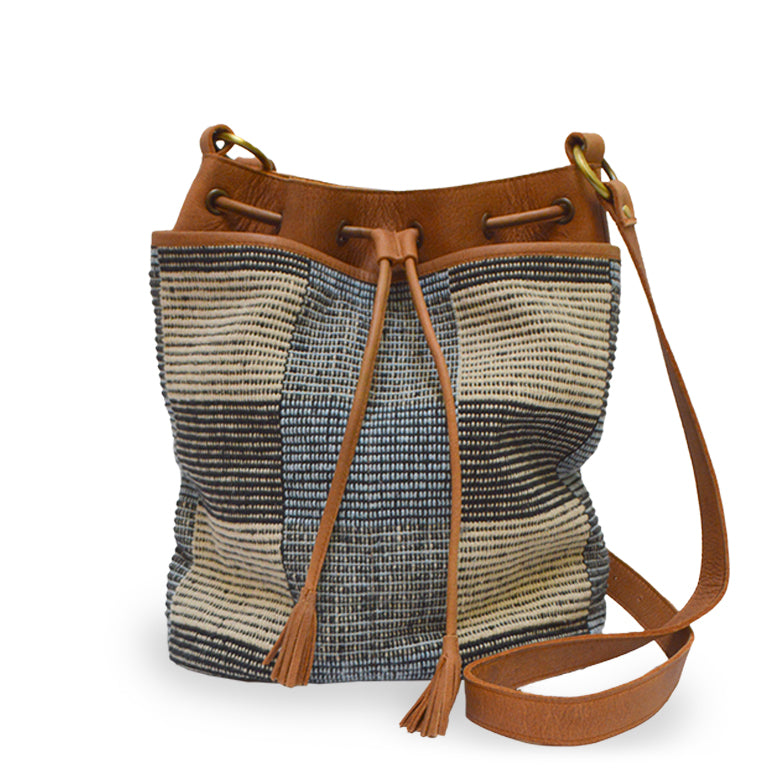 Blue checkered fabric bucket bag with leather trim, Madison Bucket Bag.