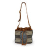 Blue checkered fabric bucket bag with leather trim handle up, Madison Bucket Bag.