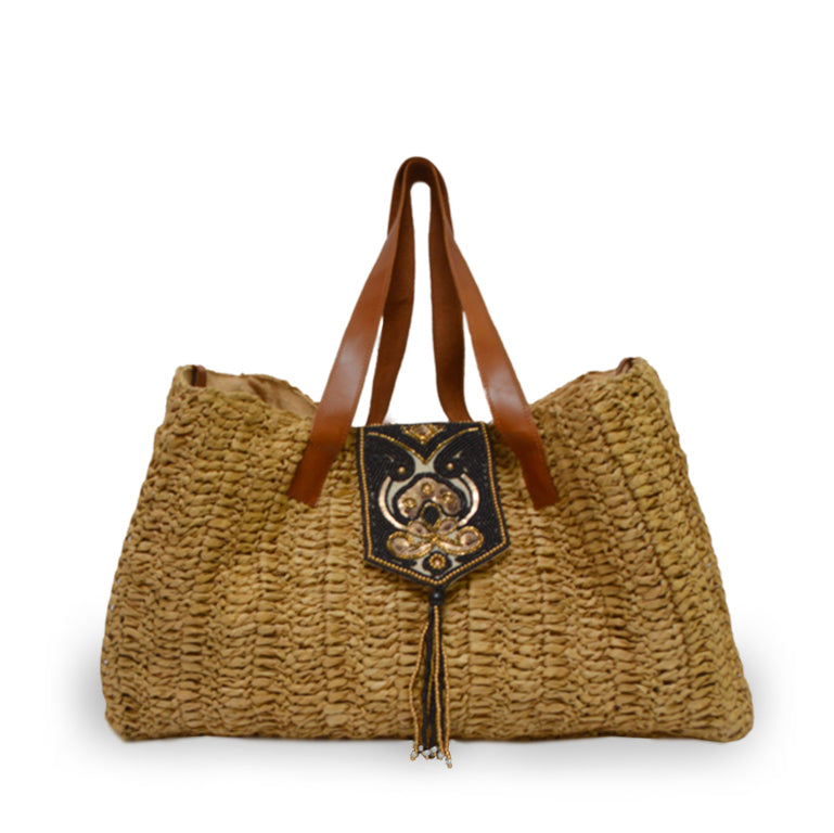 Raffia tote bag with beaded flap, Nola Raffia Tote.