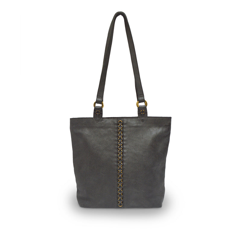 Black tote, brass rings, front view, Petra Leather Tote.