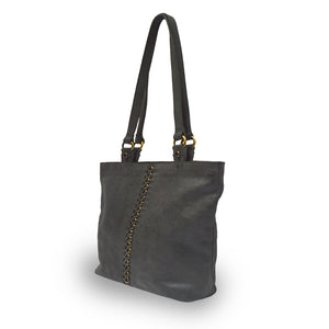 Black leather tote with brushed gold round rings going down the middle panel, Petra Leather Tote.