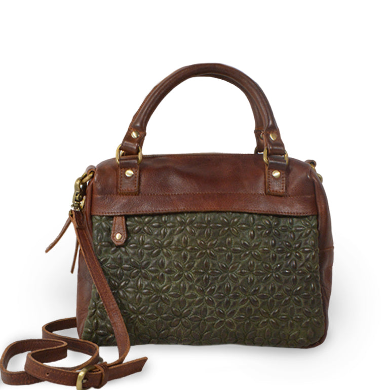 Quilted fern crossbody bag, front view and handle down, Rosalie Quilted Crossbody Bag.
