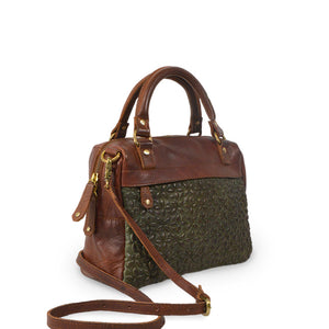 Quilted fern crossbody bag, angle view and handle down, Rosalie Quilted Crossbody Bag.