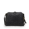 Backside of a quilted black leather crossbody bag, Sam Quilted Crossbody Bag.