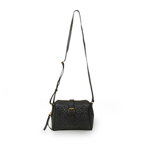 Black quilted crossbody bag handle up, Sam Quilted Crossbody Bag.