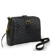 Black quilted leather crossbody bag at an angle, Sam Quilted Crossbody Bag.
