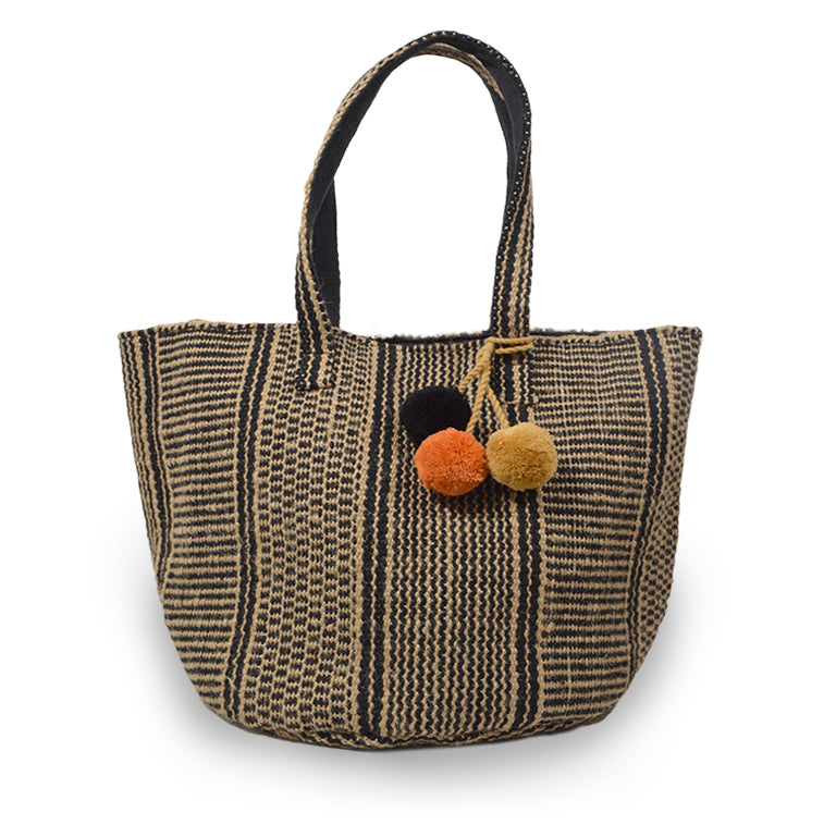 Striped fabric tote, front view.