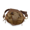 Interior view light brown leather shoulder bag, Side Tie Shoulder Bag.