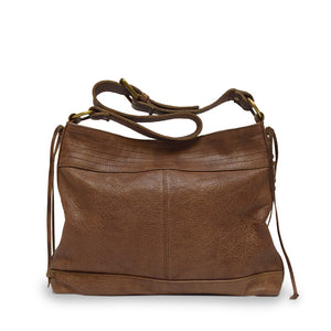Front view light brown leather shoulder bag with handle down, Side Tie Shoulder Bag.