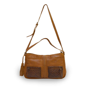 Small caramel crossbody bag with two exterior pockets, front view, Stardust Crossbody Bag.