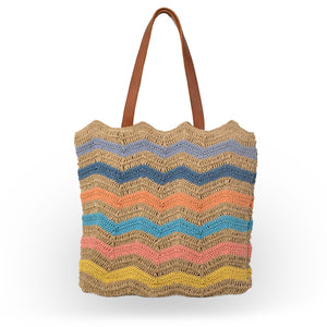 Striped jute tote with leather handles, front view, Taylor Jute Tote.