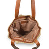 Striped jute tote with leather handles, interior view, Taylor Jute Tote.