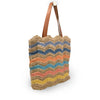 Striped jute tote with leather handles, angle view, Taylor Jute Tote.