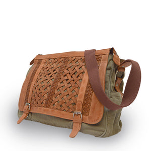 Sage green messenger bag with woven leather flap, bag at angle, Abby Woven Messenger Bag.