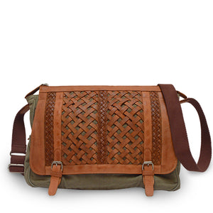 Sage green canvas messenger with woven leather flap, front view of bag, Abby Woven Messenger Bag.
