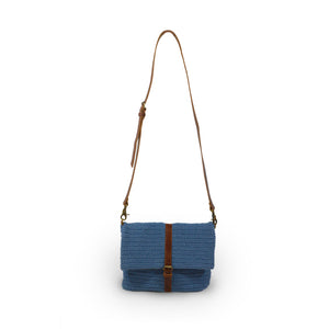 Blue cotton knit bag, front view handle up, Yolanda Knit Foldover Crossbody Bag.