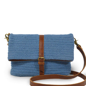 Blue cotton knit bag, front view handle down, Yolanda Knit Foldover Crossbody Bag.