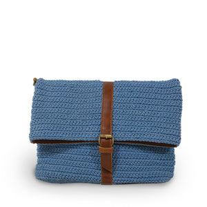 Blue cotton knit bag, front view as a clutch, Yolanda Knit Foldover Crossbody Bag.