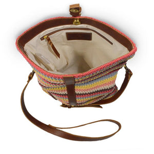 Colorful striped cotton knit bag, interior view, Yolanda Knit Foldover Crossbody Bag.