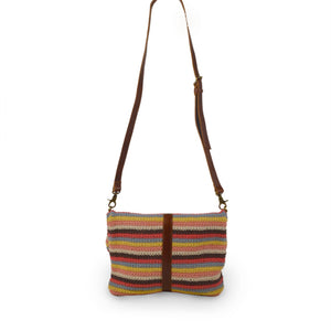 Colorful striped cotton knit bag, back view handle up, Yolanda Knit Foldover Crossbody Bag.